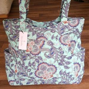 Vera Bradley Pleated Tote Bag Fan Flowers